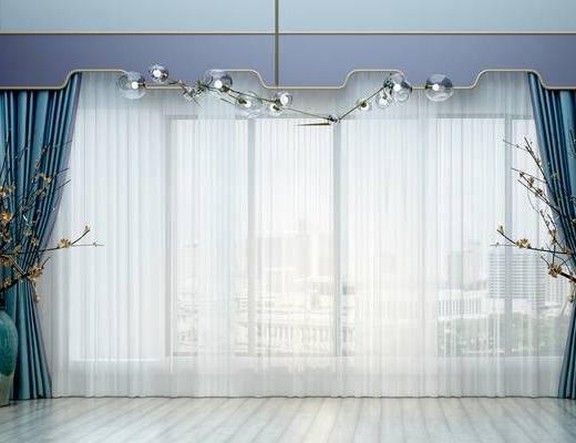 新中式窗帘, 吊灯, 干支, 花瓶