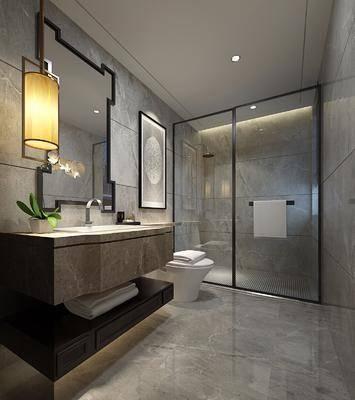 卫生间, 洗手台, 马桶, 吊灯, 装饰画, 挂画, 花洒, 中式