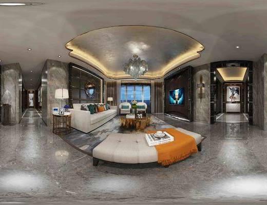 新古典客餐厅全景, 沙发组合, 茶几, 水晶吊灯, 壁灯, 大理石, 装饰镜, 餐桌椅组合