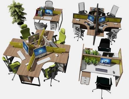 办公桌, 办公椅, 桌子, 椅子, 盆栽, 办公用品, 电脑, 文件柜