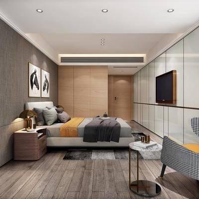 现代卧室, 现代, 卧室, 椅子, 床, 床头柜, 装饰画