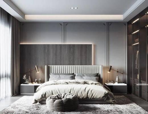 现代, 卧室, 双人床, 衣柜, 床头柜