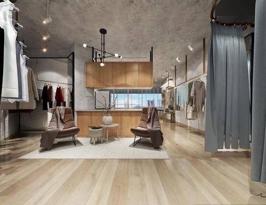 衣架, 展示柜, 吊灯, 单椅, 茶几
