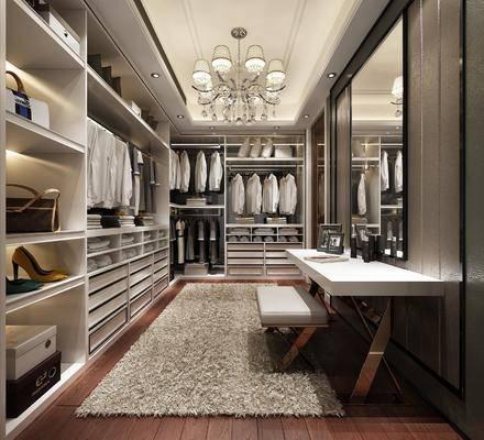 衣帽间, 衣柜, 装饰柜, 服饰, 吊灯, 书桌, 梳妆台, 凳子, 欧式