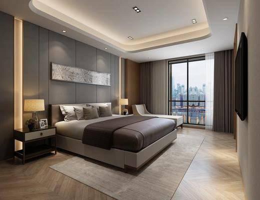 酒店客房, 现代酒店客房3d模型, 床具组合, 单椅