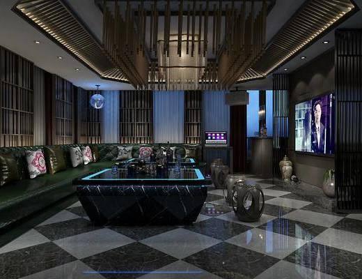 ktv, k房, 沙发, 多人沙发, 凳, 屏幕, 瓷器, 摆件, 装饰品, 吧台, 点歌台, 新中式