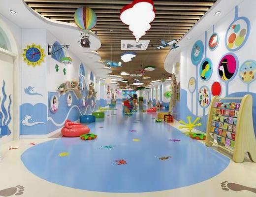 现代幼儿园, 幼儿园, 玩具, 书架, 学校
