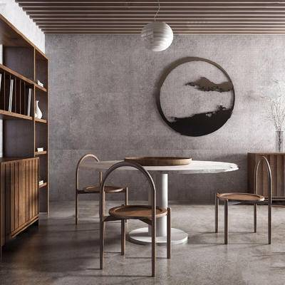中式, 中式餐桌组合, 餐桌组合, 实木餐桌, 餐桌, 下得乐3888套模型合辑