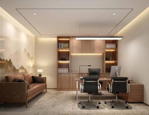 桌椅组合, 办公室, 沙发组合, 背景墙, 书柜, 吊灯