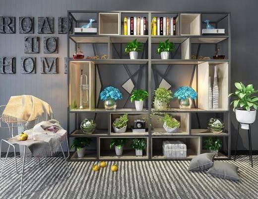 现代铁艺工业风装饰架, 现代, 装饰架, 植物, 花瓶, 盆栽, 椅子