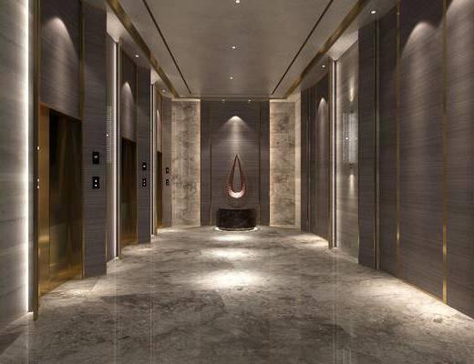 电梯间, 景观小品, 走廊, 过道
