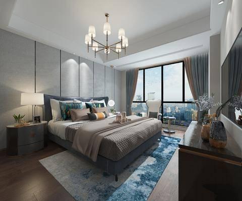 卧室, 现代卧室, 床具组合, 摆件, 吊灯, 电视柜, 床头柜, 台灯, 现代