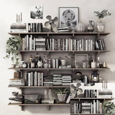 装饰架, 书籍, 摆件组合, 现代装饰架, 现代, 植物
