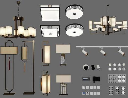 吊灯, 壁灯, 落地灯, 射灯, 吸顶灯, 开关组合, 新中式