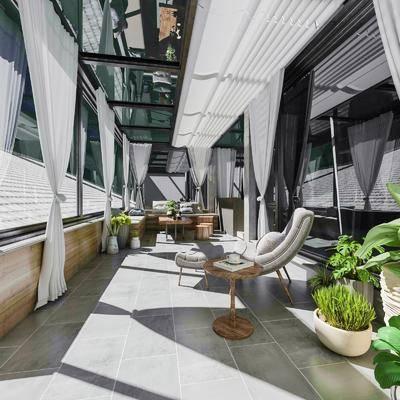 阳光房, 单椅, 植物, 盆栽, 沙发组合, 茶几, 茶具组合
