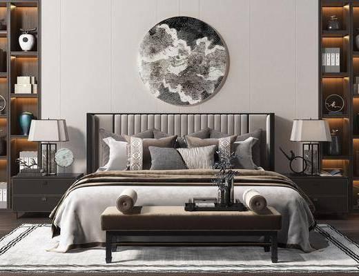 床尾踏, 床头柜, 床头挂画, 双人床