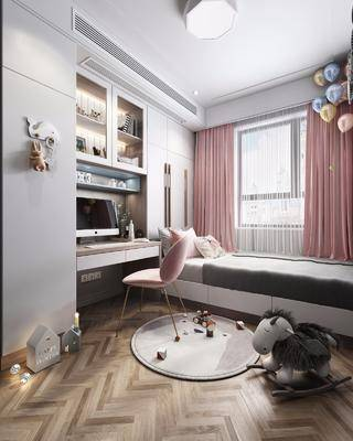 儿童房, 榻榻米, 桌椅组合, 装饰柜组合, 玩具组合, 北欧