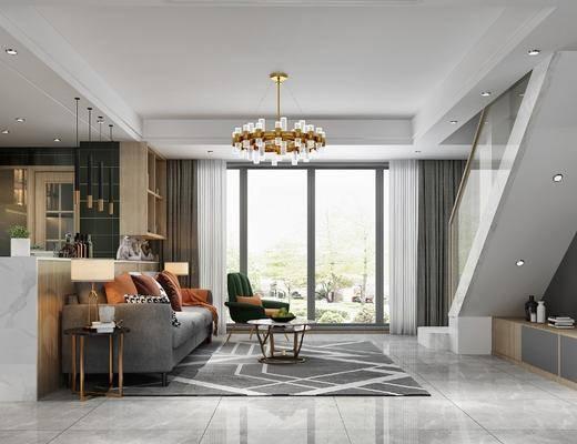 橱柜组合, 沙发组合, 吊灯, 茶几, 吧台, 电视柜, 摆件组合