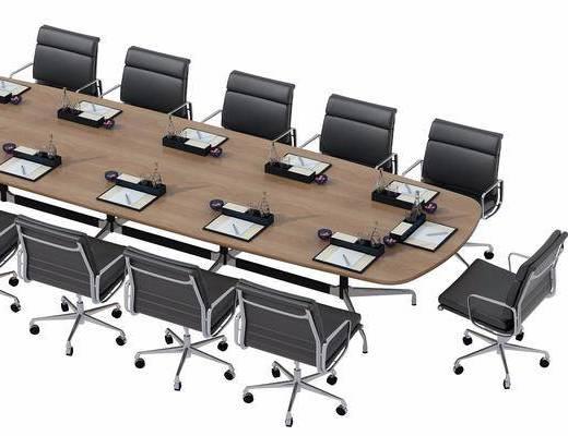 会议桌, 办公椅, 单椅, 轮滑椅, 摆件, 现代