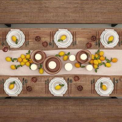 美式简约, 餐桌椅组合, 餐具组合, 烛台组合, 美式