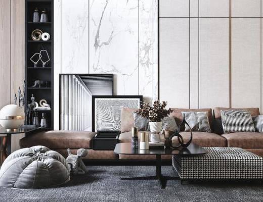 沙发组合, 茶几, 摆件组合, 装饰画, 边几