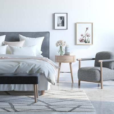 双人床, 床具组合, 单人沙发, 床头柜, 装饰画, 挂画, 盆栽, 床尾凳, 现代, 北欧
