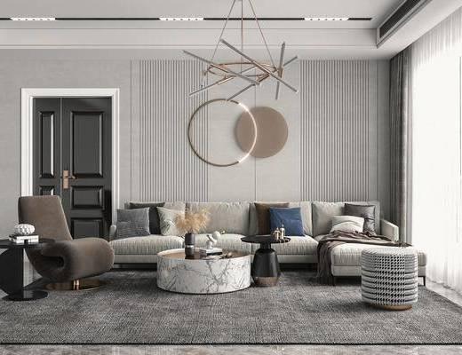 多人沙发, 转角沙发, 休闲椅, 吊灯, 墙饰