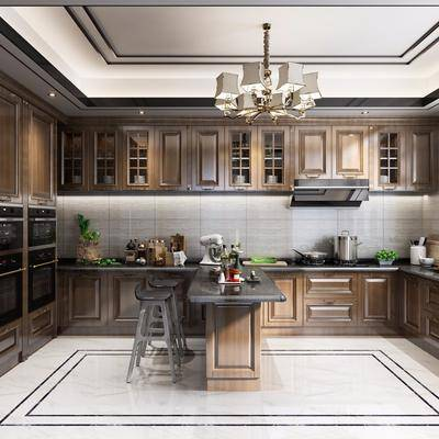 厨房, 橱柜, 吧台, 吧椅, 吊灯, 冰箱, 摆件, 新中式