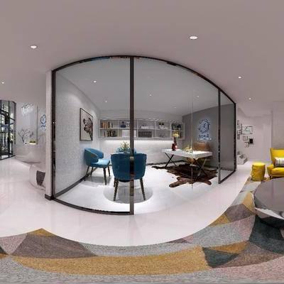 现代办公室接待区, 现代, 会客区, 接待, 办公室, 沙发, 椅子