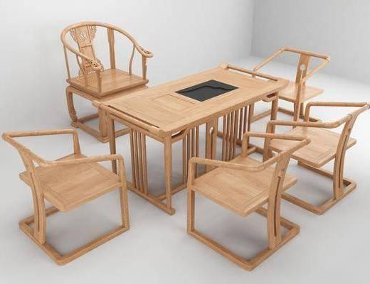 茶台, 单人椅, 茶桌, 新中式