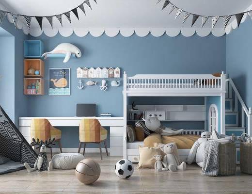 上下床, 高低床, 現代書桌, 北歐臥室, 北歐兒童房, 桌椅組合, 帳篷, 兒童玩具, 置物架, 擺件