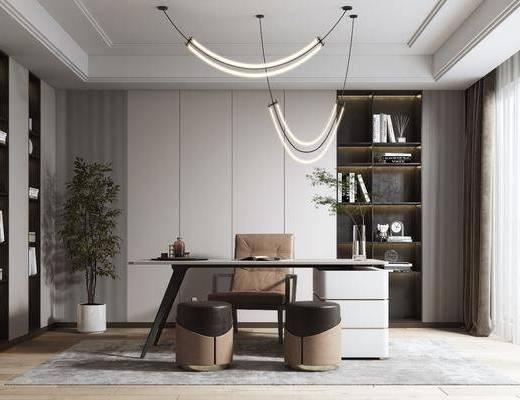 书桌, 吊灯, 植物, 书柜, 书籍