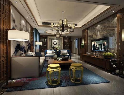 客厅, 新中式客厅, 沙发组合, 单人凳, 茶几, 吊灯, 台灯, 电视柜, 摆件组合, 新中式
