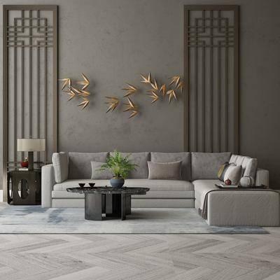 沙发组合, 墙饰, 茶几, 摆件组合