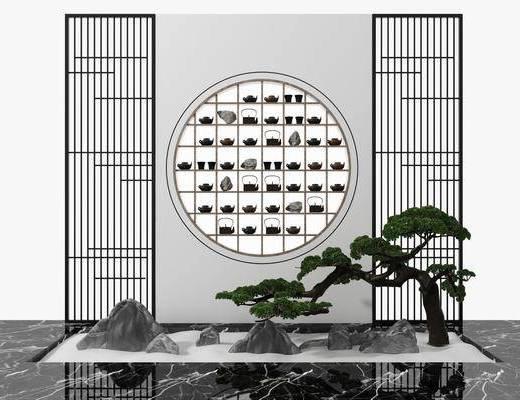花格屏风, 松树假山, 绿植植物, 茶艺小品, 装饰架, 新中式