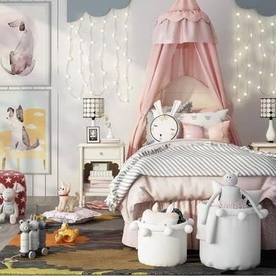兒童房, 臥室, 雙人床, 床頭柜, 臺燈, 玩具, 北歐