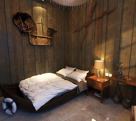 民宿, 床具组合, 单人沙发, ?#39184;?#26588;, 台灯, 墙饰, 工业风