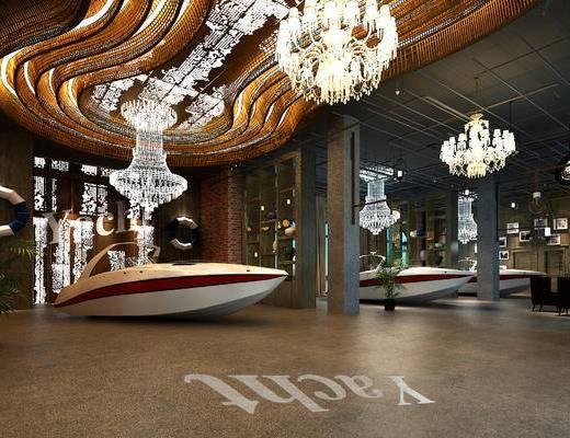 博物馆, 展馆, 吊灯, 游艇, 新古典