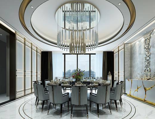酒店包间, 别墅餐厅, 餐桌, 餐椅组合, 端景台