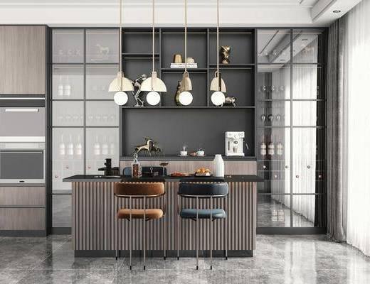 吧台, 吧台椅, 吊灯, 酒柜, 冰箱
