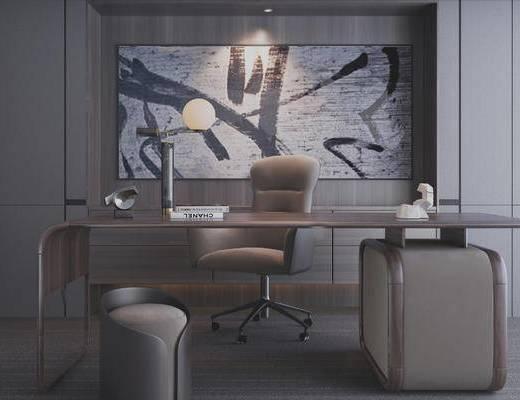 现代办公室, 办公桌, 办公椅, 矮凳