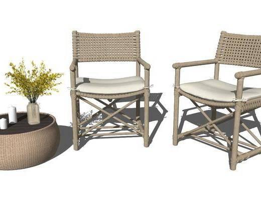 单椅, 休闲椅, 茶几, 摆件组合