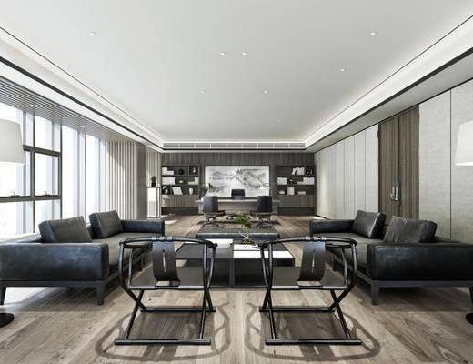 沙发组合, 茶几, 落地灯, 装饰画, 书柜