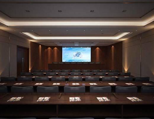 会议室, 投影仪, 办公桌, 办公椅, 单人椅, 现代