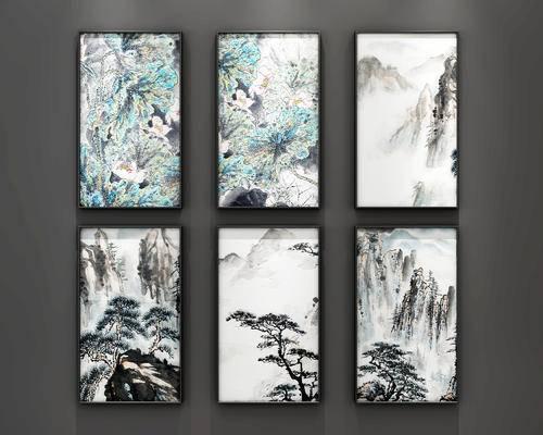 水墨画, 山水画, 新中式, 中式, 现代, 挂画, 装饰画