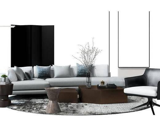 沙发组合, 多人沙发, 茶几, 边几, 单椅, 休闲椅, 单人沙发, 装饰画, 花瓶, 干支, 现代, 地毯