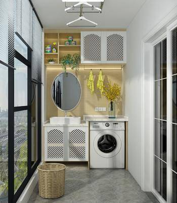 阳台露台, 洗衣机, 装饰镜, 衣架, 现代