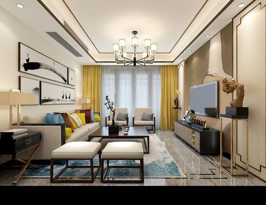 客厅, 沙发组合, 中式客厅, 中式沙发, 端景台, 装饰画