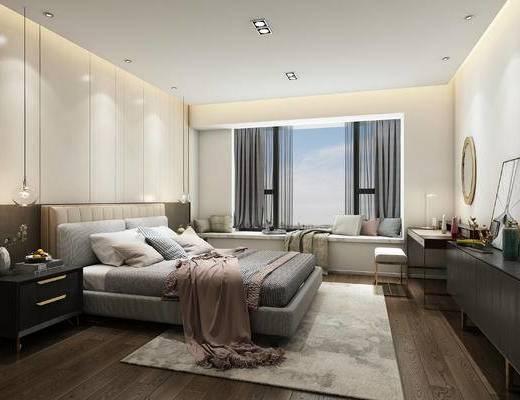现代卧室, 现代轻奢卧室, 梳妆台, 电视柜, 卧室, 床, 装饰柜