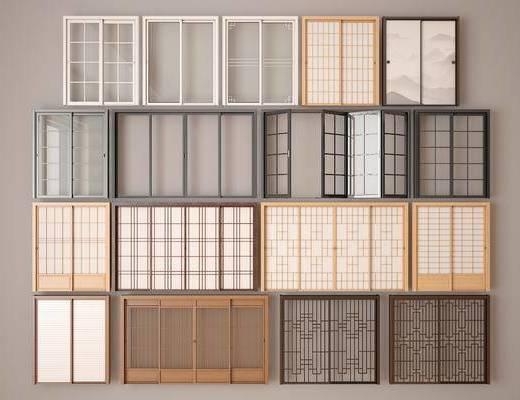 推拉门, 玻璃门, 日式